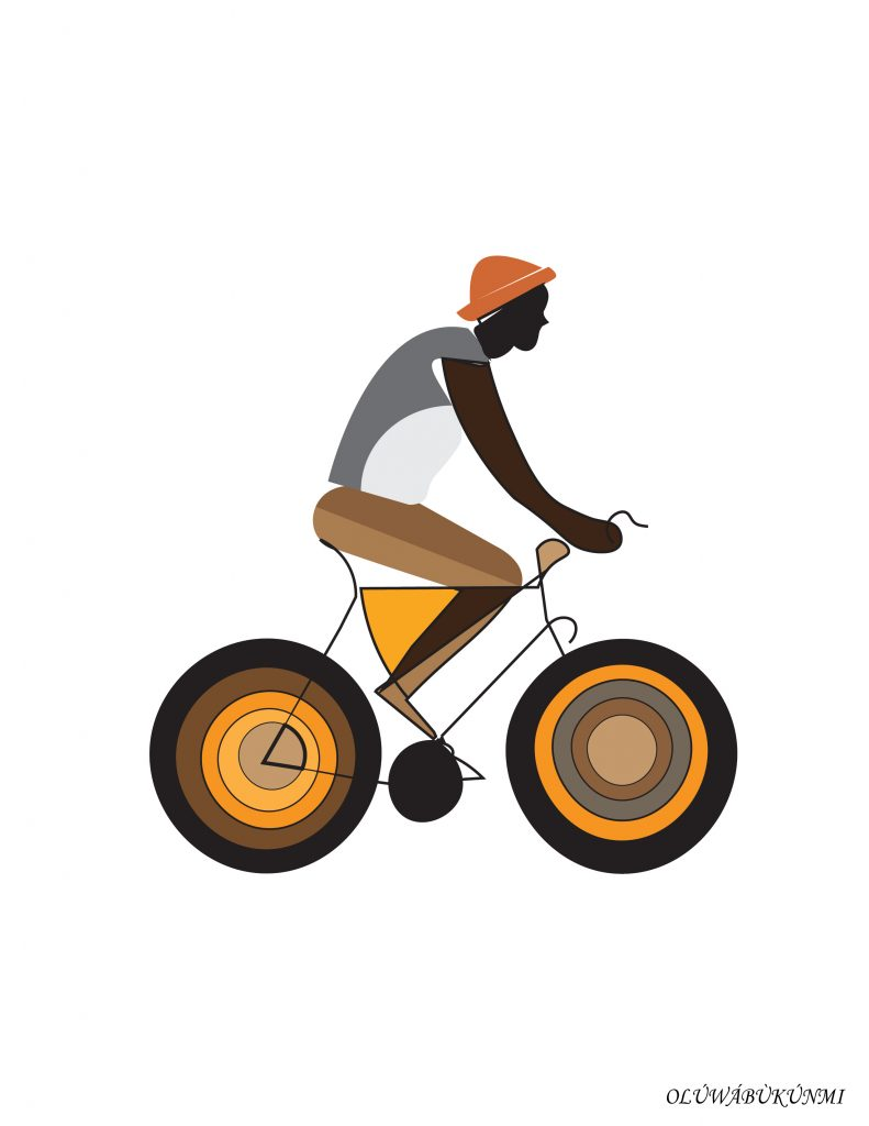 an illustration of a man riding a bicycle